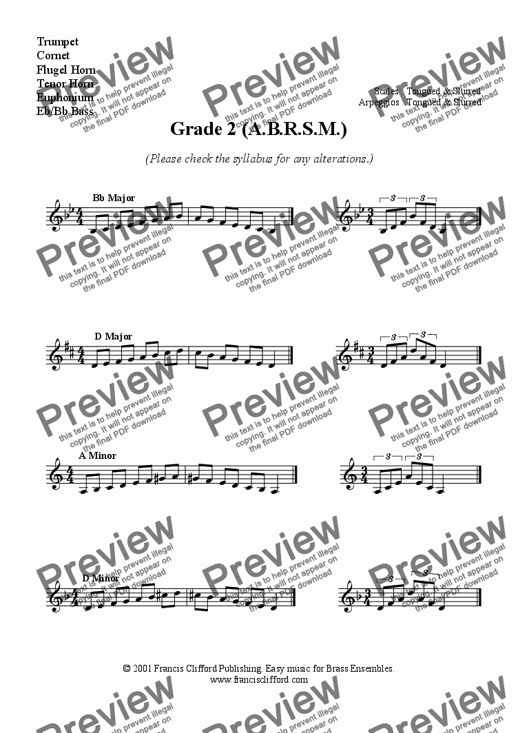 Grade 2 ABRSM Scales for Trumpet, Eb Horn, Euph, etc for Worksheets by  Francis Clifford - Sheet Music PDF file to download