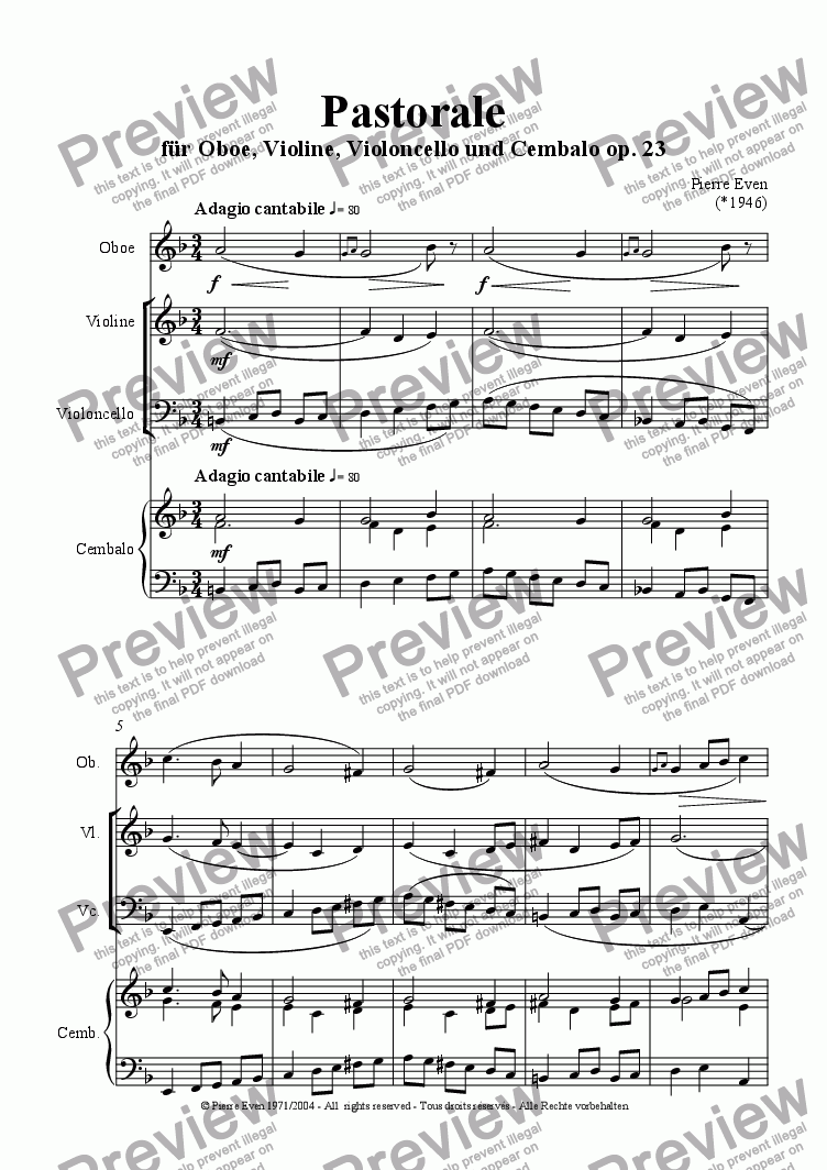 page one of Pastorale - for Oboe, Violin, Cello and Harpsichord op. 23