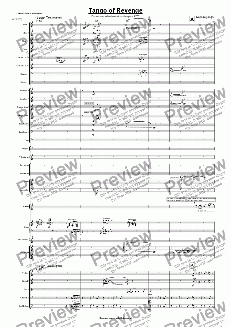 "page one of ""Tango of Revenge"" for voice and orchestra"