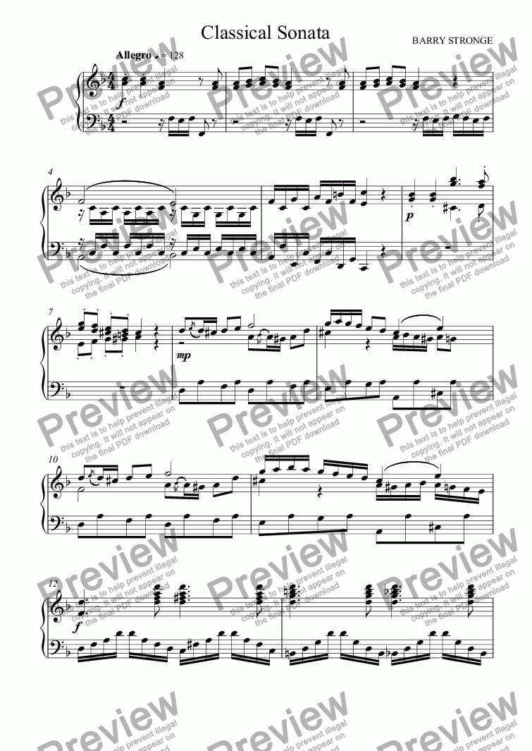 page one of Classical Sonata