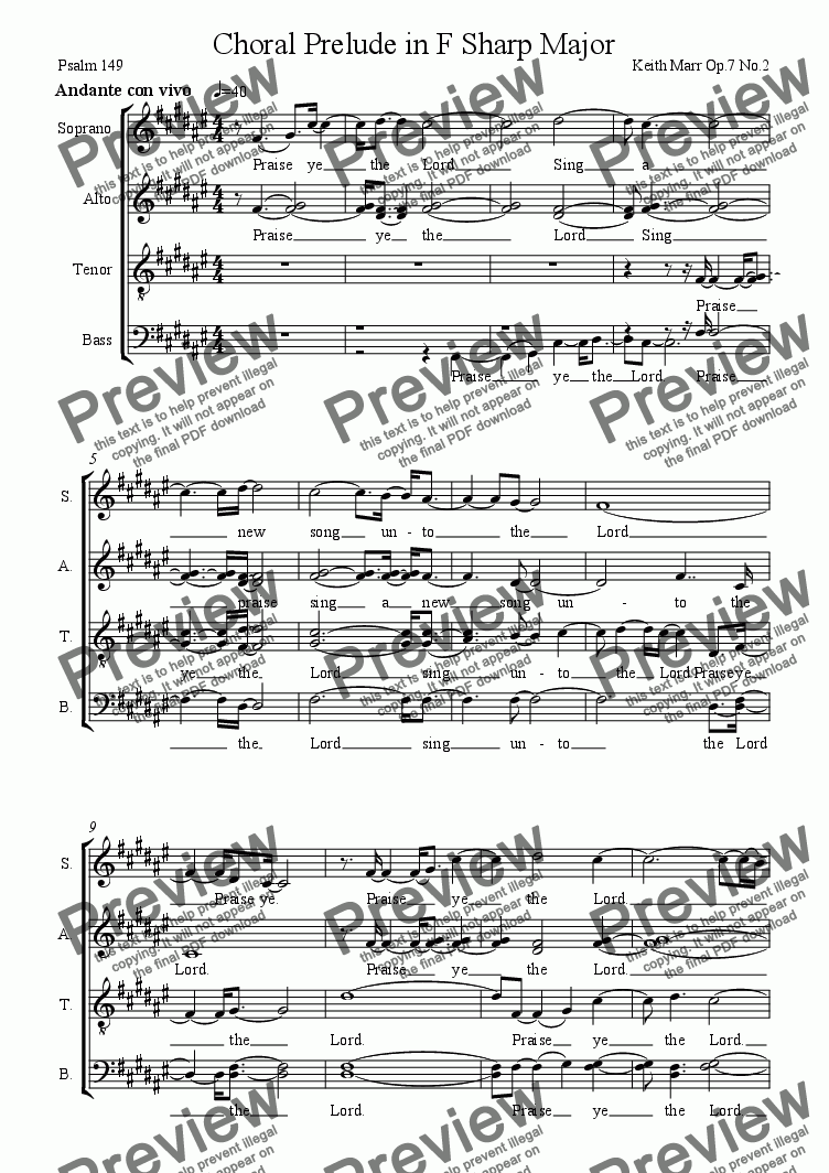 page one of Choral Prelude Op.7.2