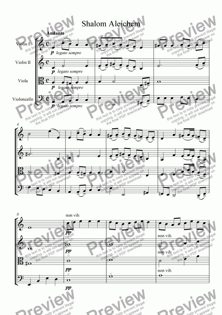 Shalom Aléchem - Score