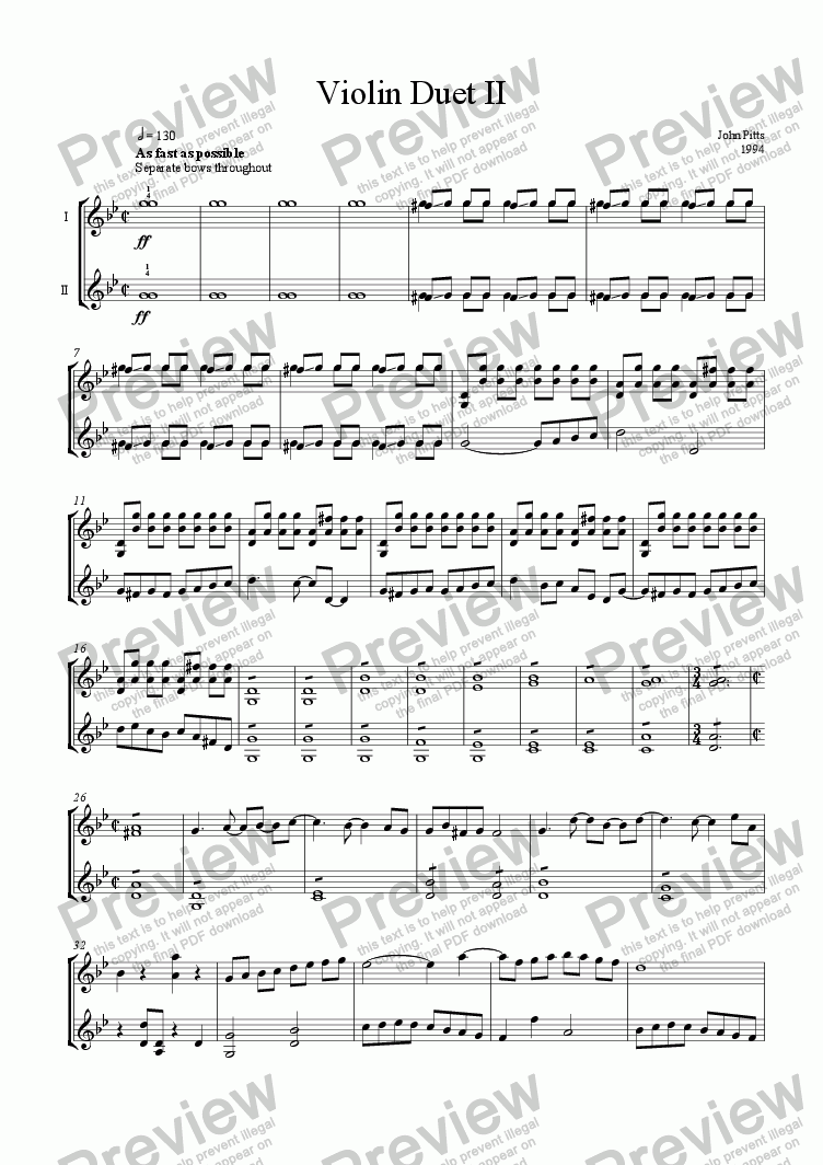 page one of Violin Duet II (2 violins) [1994]