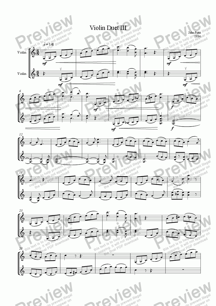 page one of Violin Duet III (2 violins) [1994]