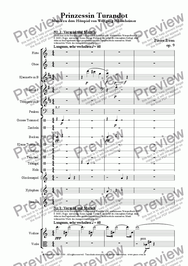 page one of Princess Turandot - Music for the Radio Play by Wolfgang Hildesheimer, op. 9ASALTTEXT