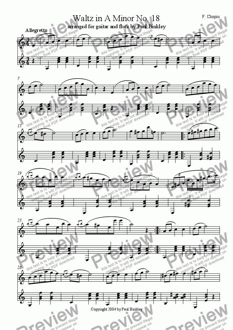 Waltz In A Minor No 18 For Duet By Frederic Chopin Sheet Music Pdf File To Download