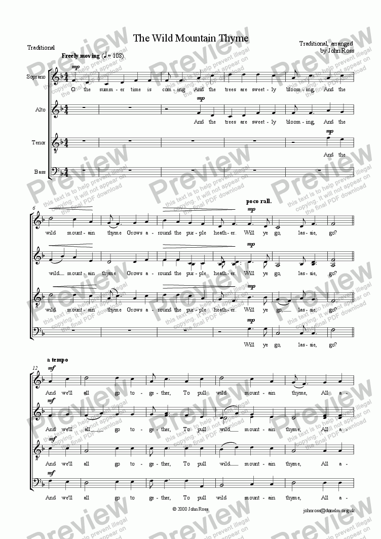 page one of The Wild Mountain Thyme (SATB)