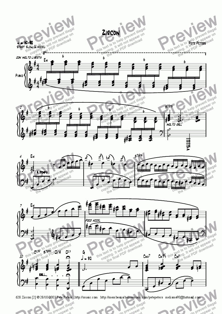 page one of Zircon [2] Piano soloASALTTEXT
