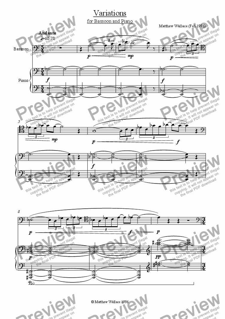 page one of Variations for Bassoon & Piano