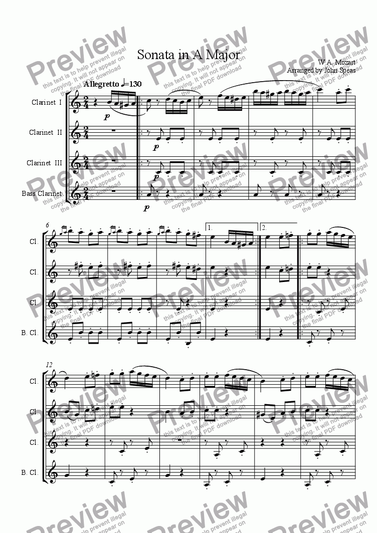 page one of Sonata in A Major
