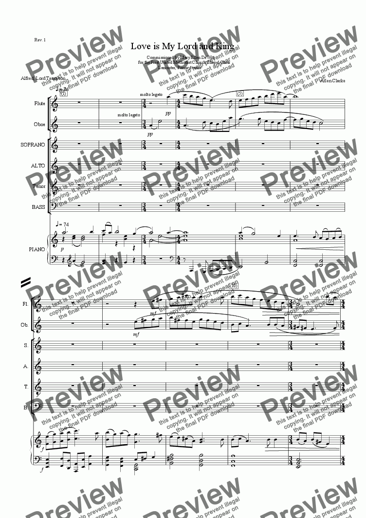 page one of Love is My Lord and King-SATB PianoASALTTEXT