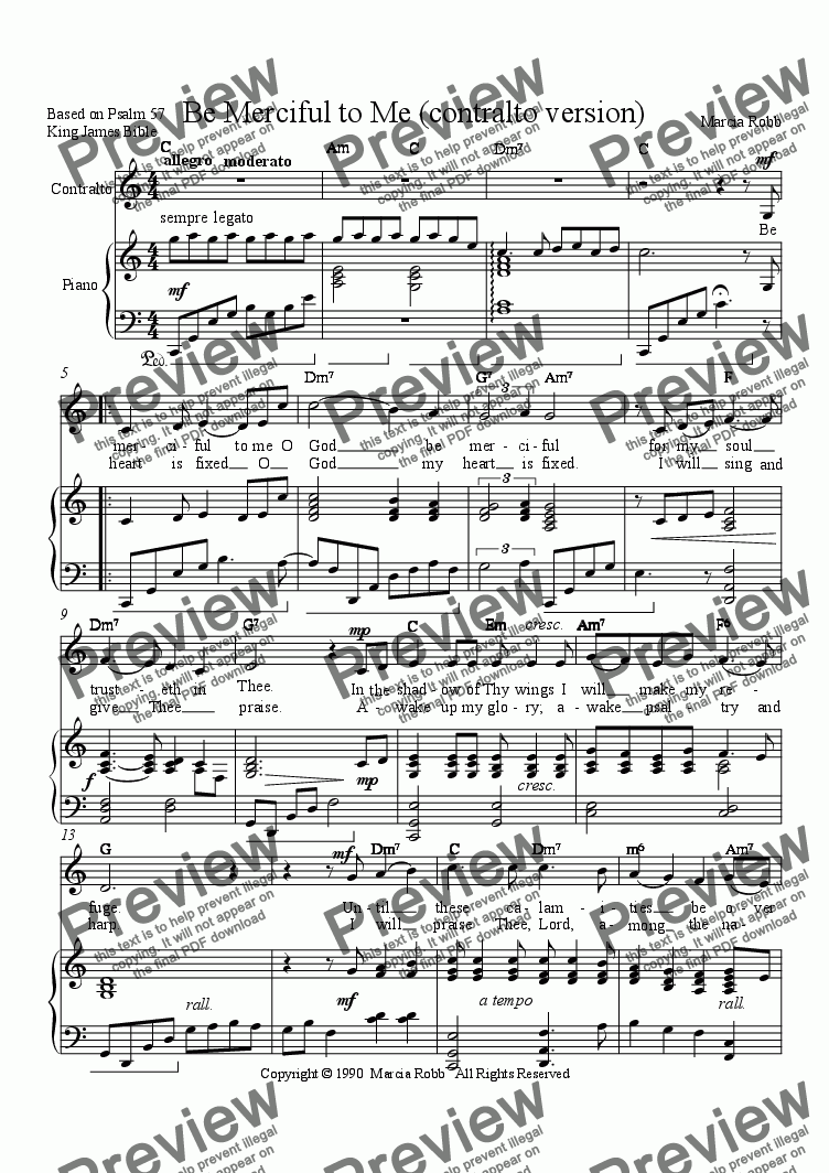 page one of Be Merciful to Me (contralto version)ASALTTEXT