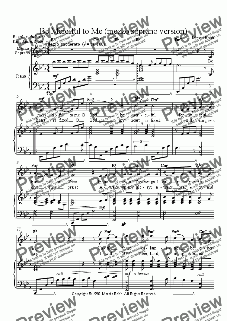 page one of Be Merciful to Me (mezzo soprano version)