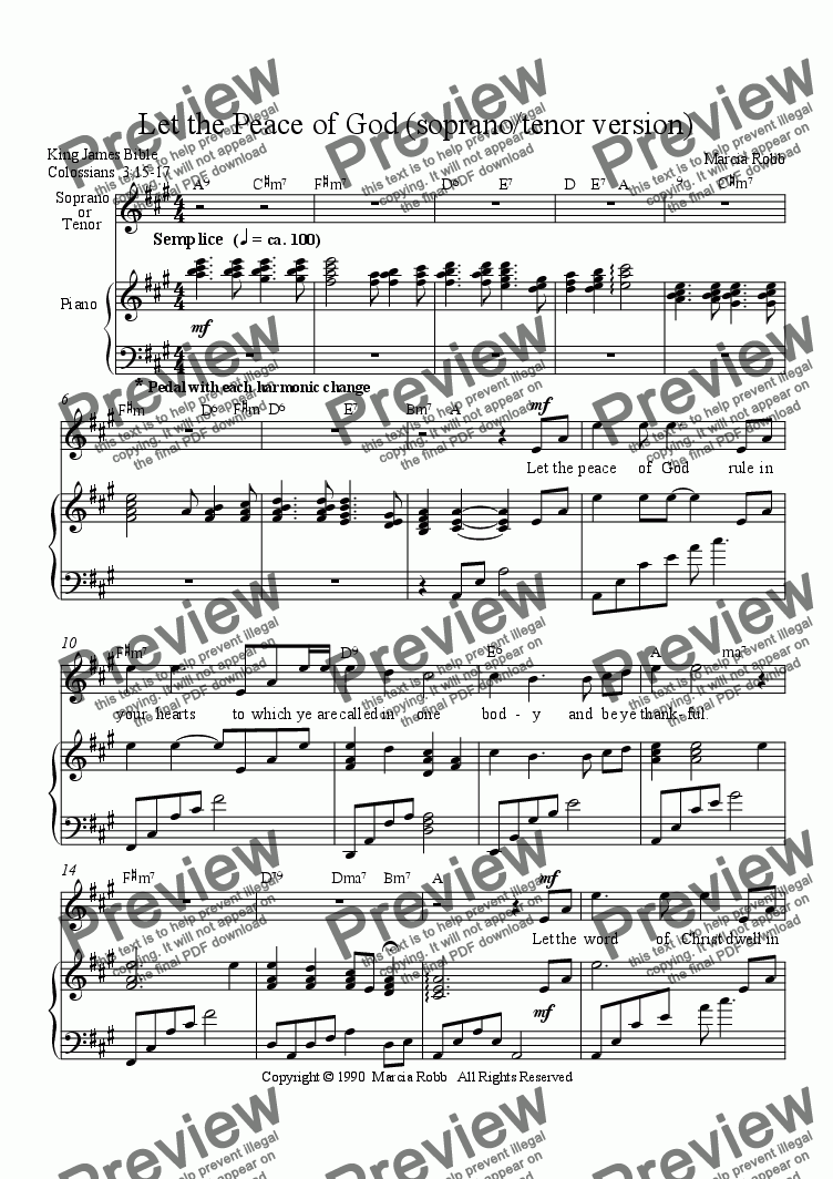 page one of Let the Peace of God (soprano/tenor version)ASALTTEXT