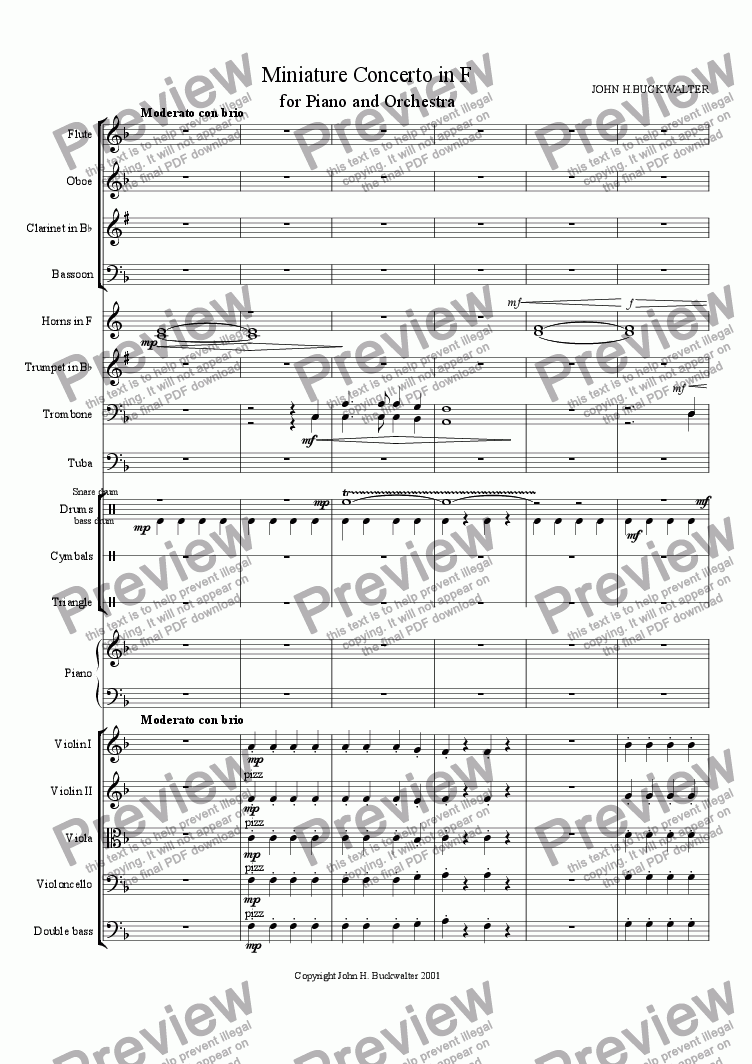 page one of Miniature Piano Concerto in F (1st  Movement)