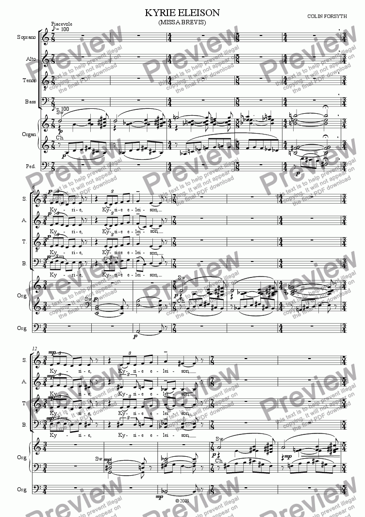 page one of Missa Brevis for S.A.T.B., Soli, Brass,Timpani and Organ. 'Kyrie Eleison'.ASALTTEXT