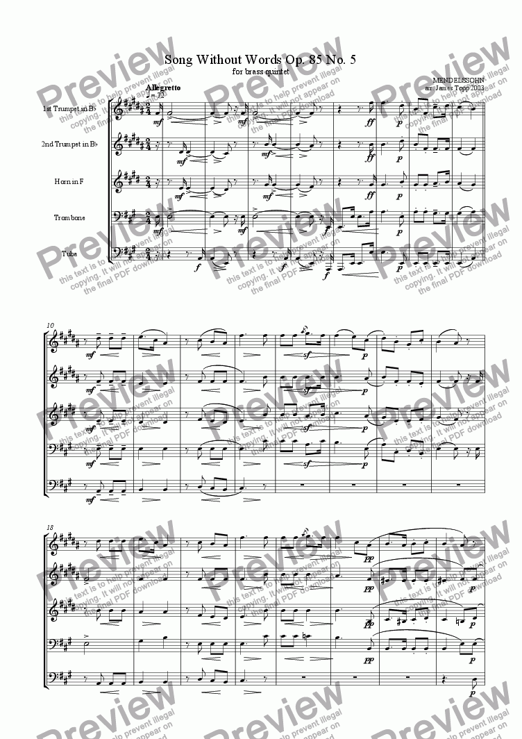 page one of Song Without Words Op. 85 No. 5