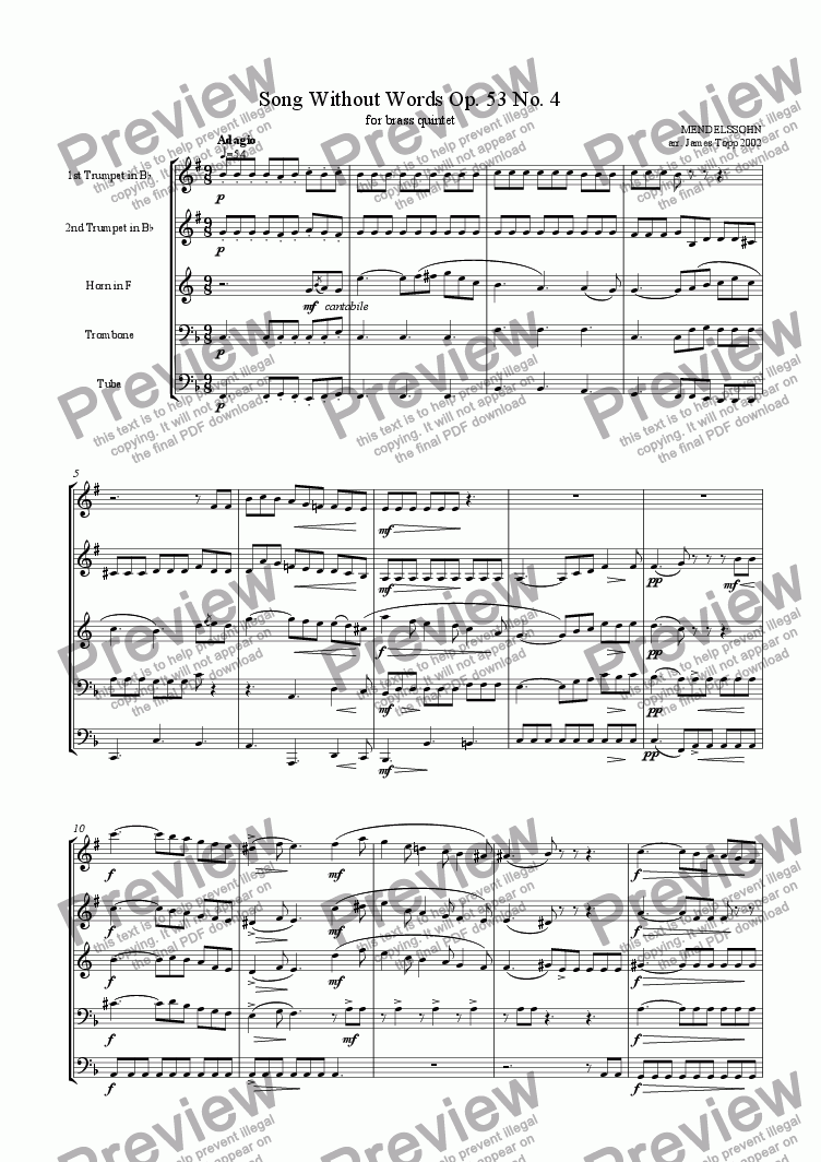 page one of Song Without Words Op. 53 No. 4