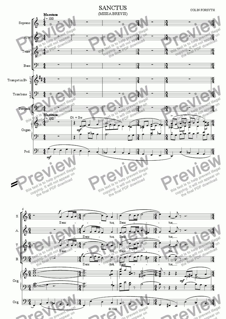 page one of Missa Brevis for S.A.T.B., Soli, Brass, Timpani and Organ. 'Sanctus'.