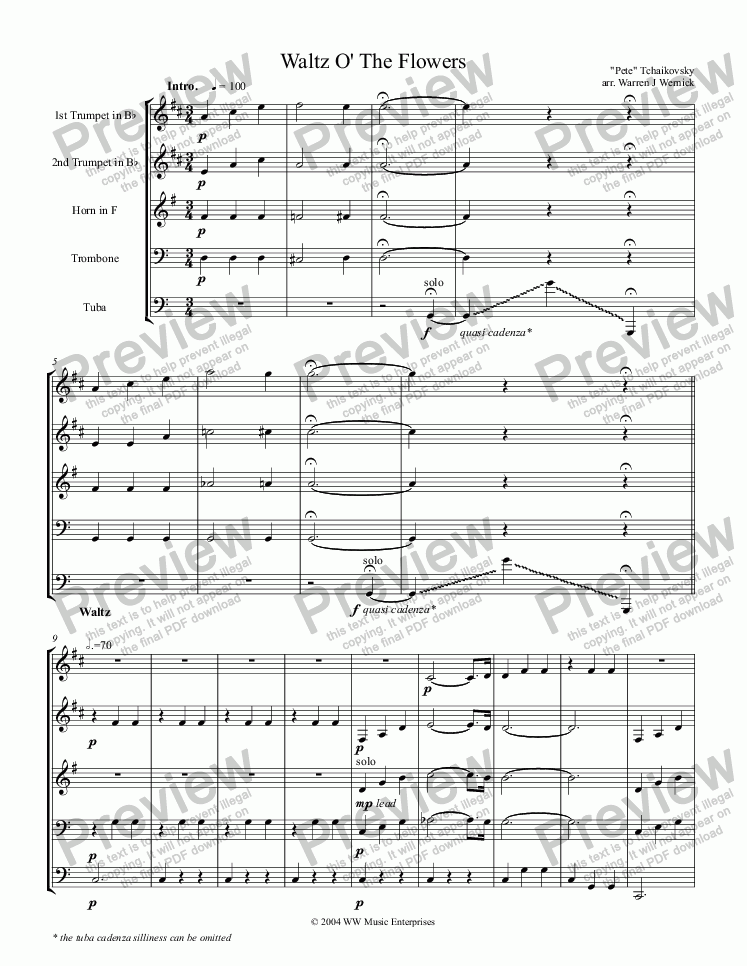 page one of Waltz O' The Flowers for Brass QuintetASALTTEXT