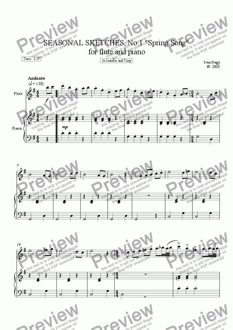 page one of SEASONS 1. Spring Song (Flute and Piano)ASALTTEXT