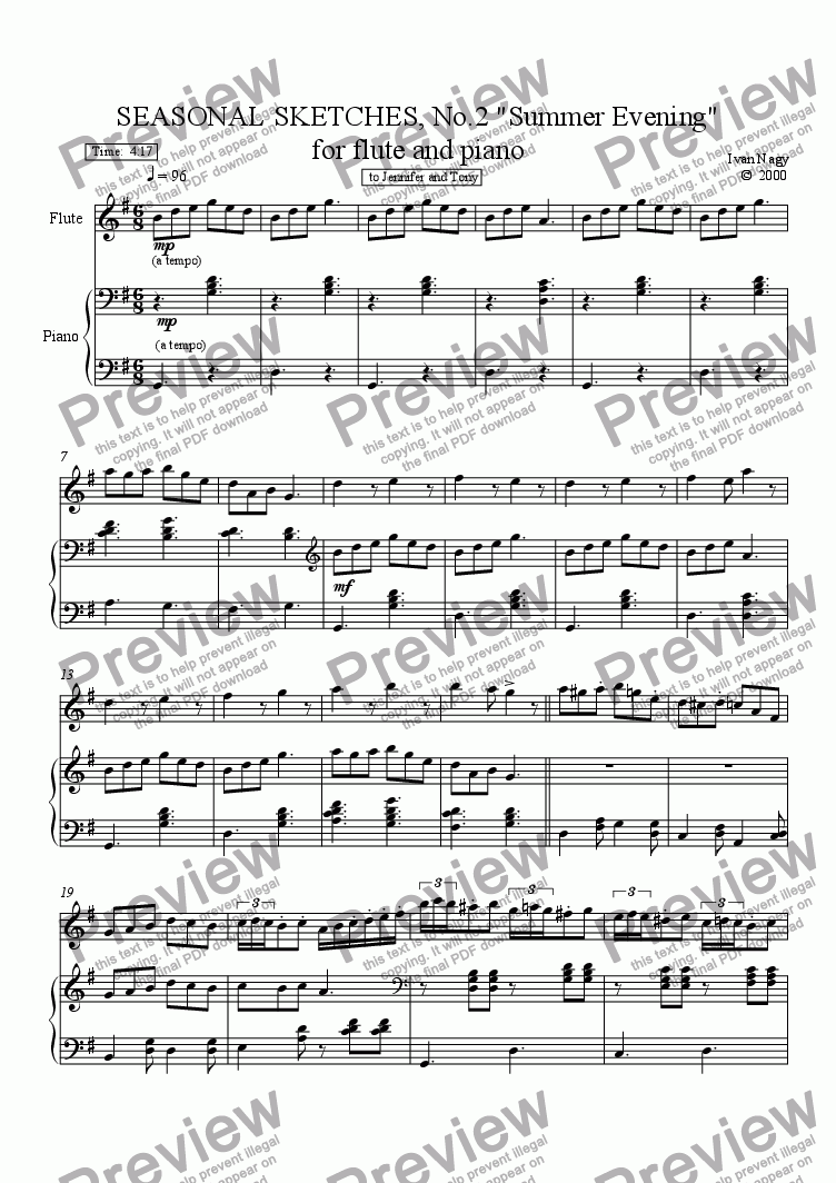 page one of SEASONS 2. Summer Evening (Flute and Piano)