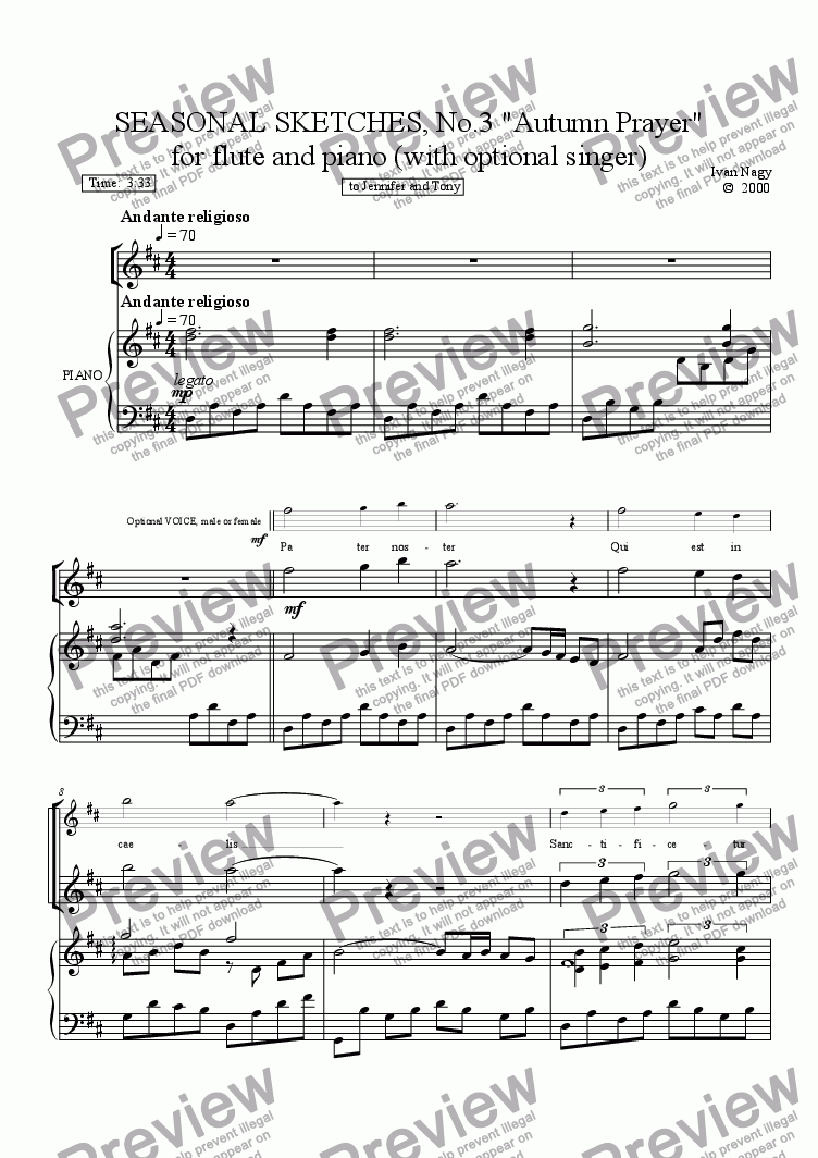page one of SEASONS 3. Autumn Prayer (Flute and Piano - and optional voice)ASALTTEXT
