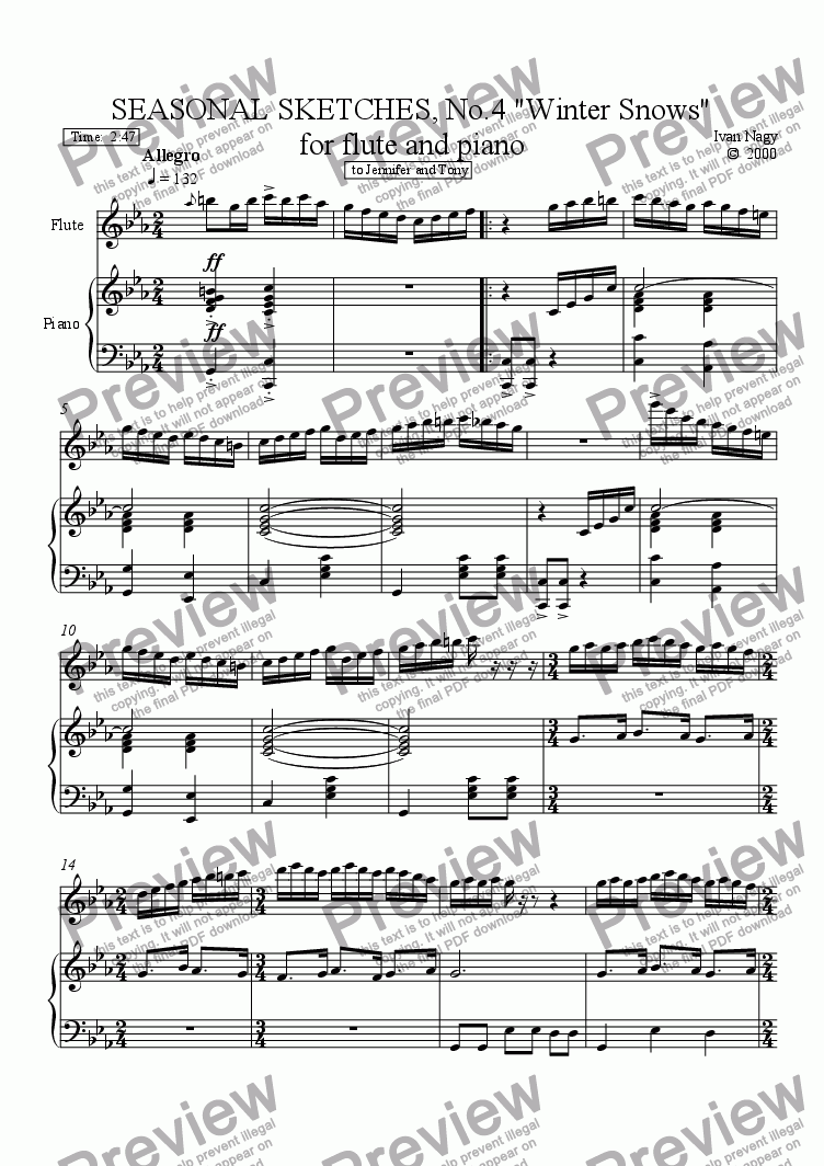page one of SEASONS 4. Winter Fury (Flute and Piano)