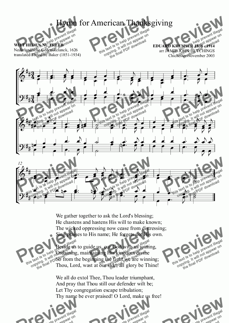 "page one of Hymn for American Thanksgiving Day ""We gather together to ask the Lord's blessing"""