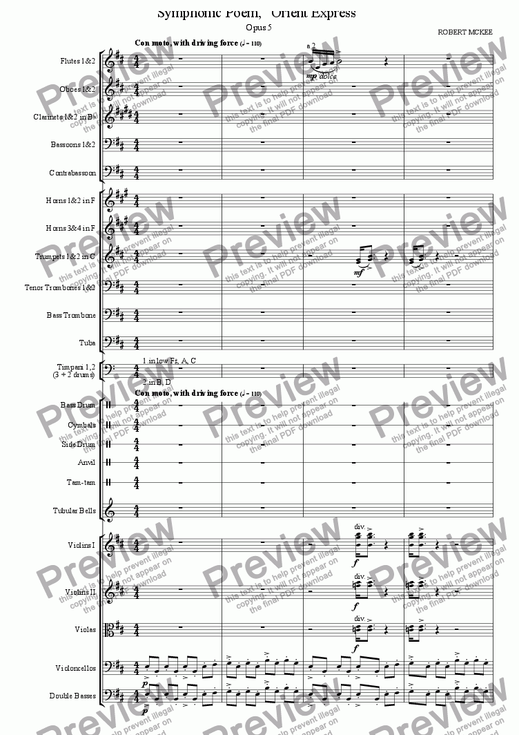 "page one of Symphonic Poem, ""Orient Express"""