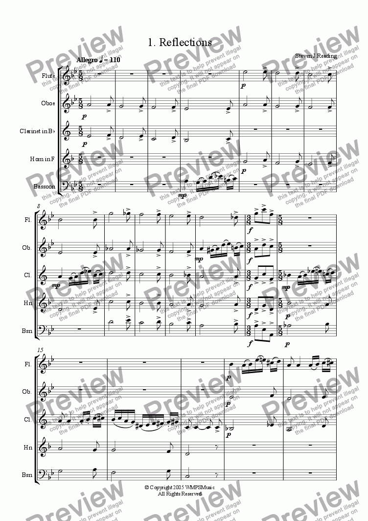 page one of Wind Quintet