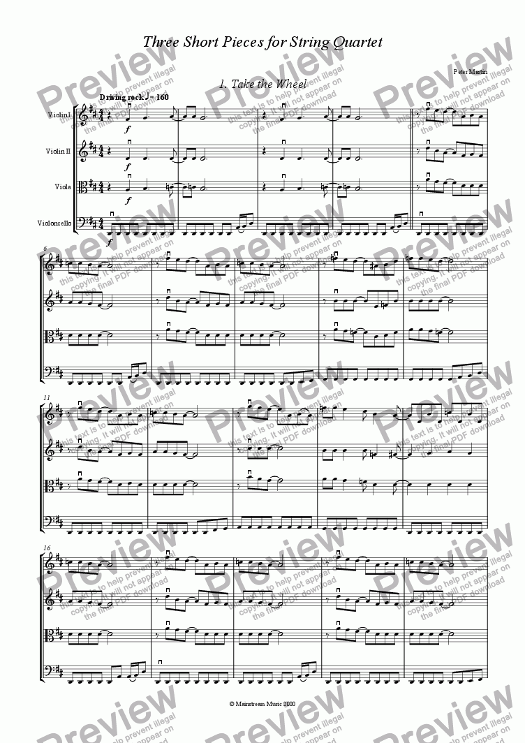 page one of Three Short Pieces for String Quartet