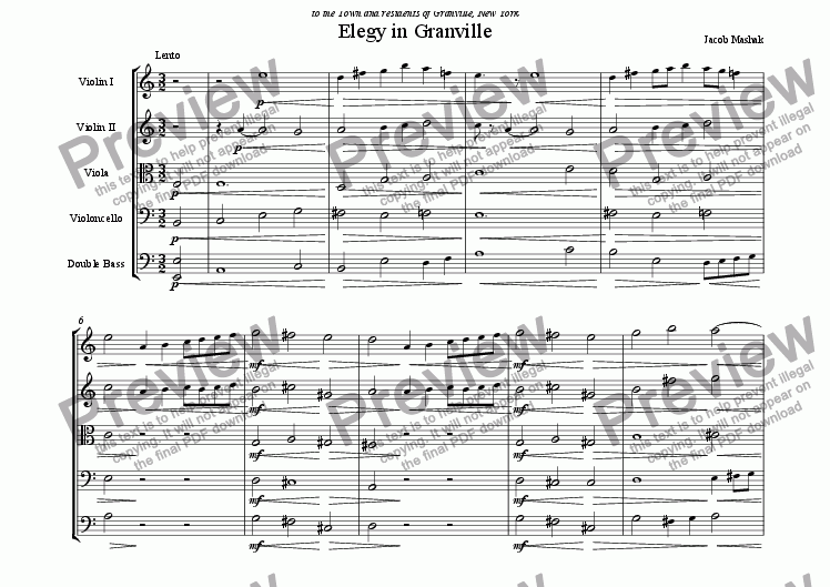 page one of Elegy in Granville (String Orchestra)ASALTTEXT