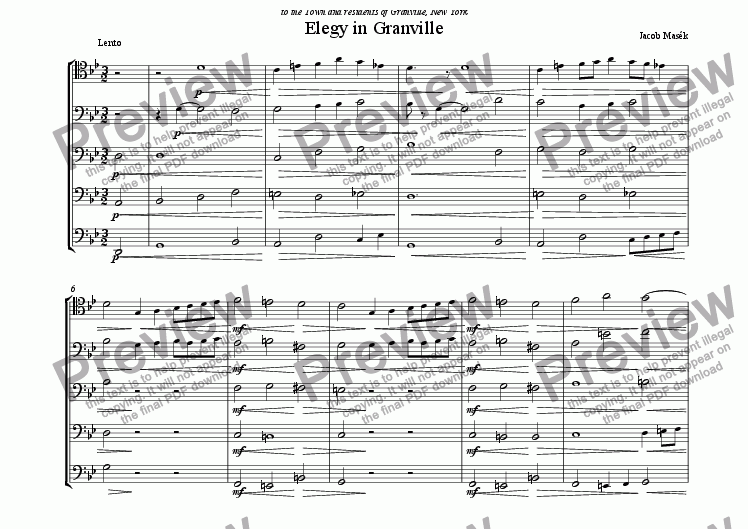 page one of Elegy in Granville (5, or more, Trombones)