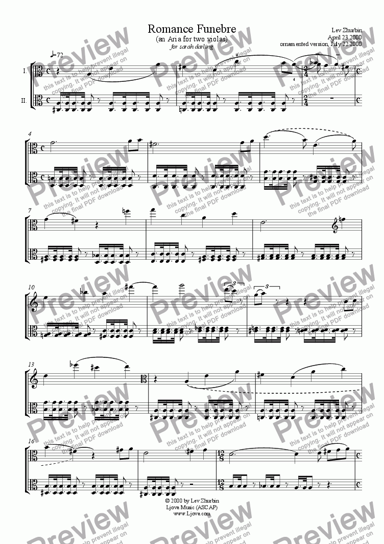 "page one of ""Romance Funebre"" (an aria for two violas)"