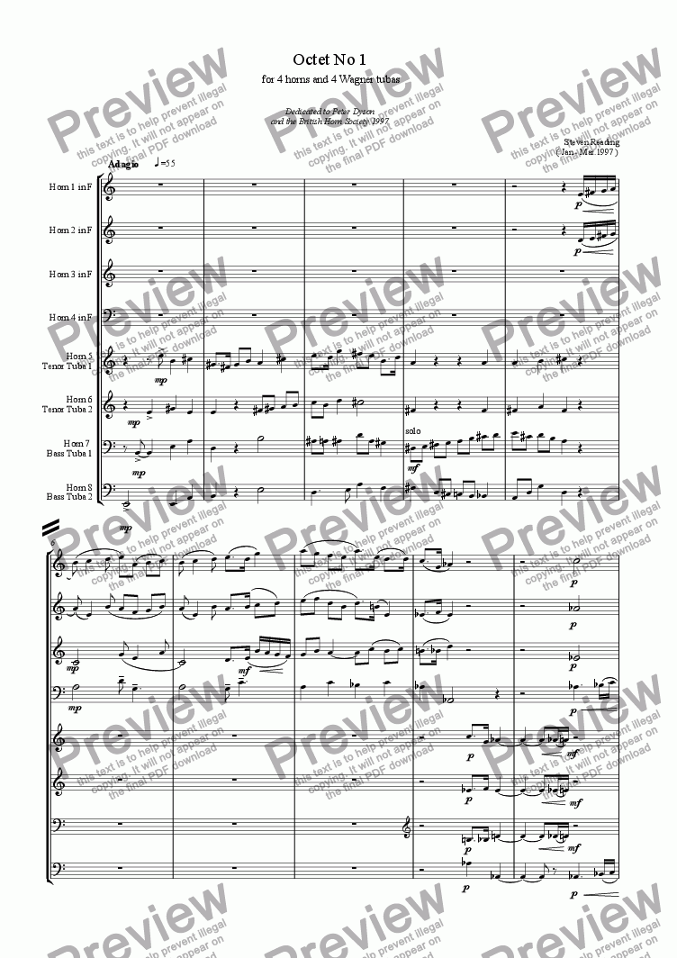 page one of Octet for Horns and Wagner Tubas