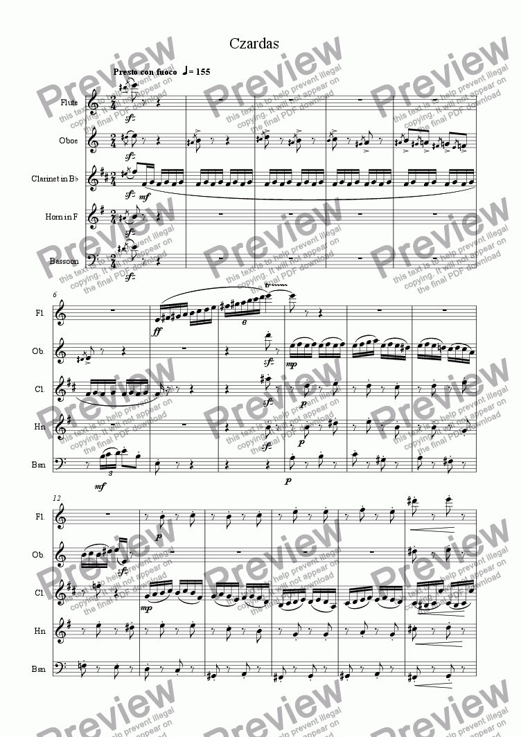 page one of Czardas for Wind Quintet