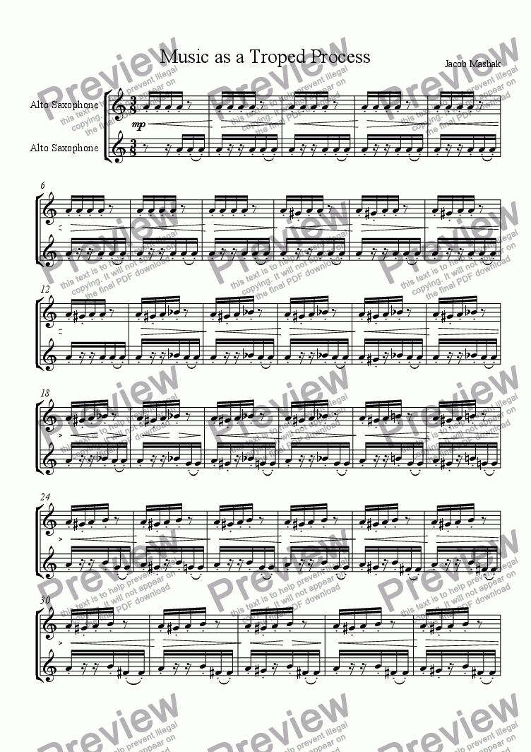 page one of Music as a Troped Process