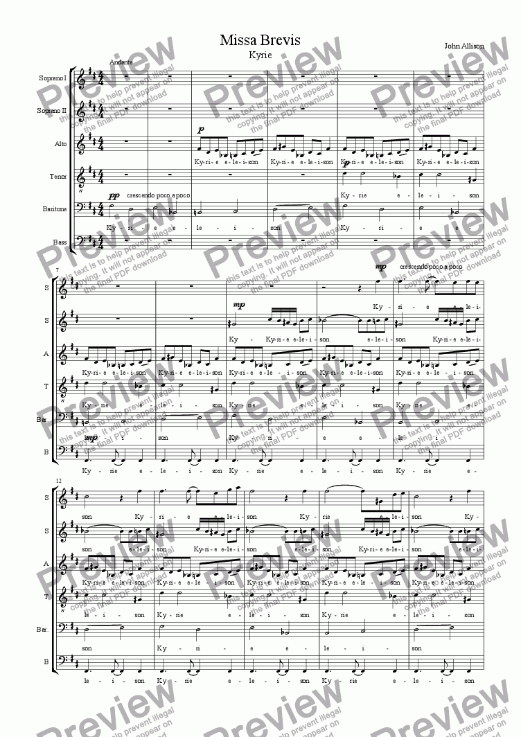 page one of Missa brevis - Kyrie (SSATBB)