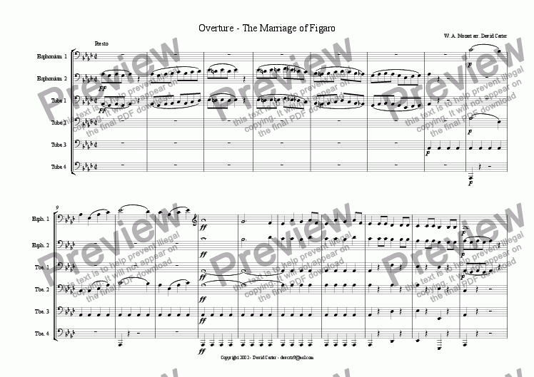 page one of Overture to The Marriage of Figaro