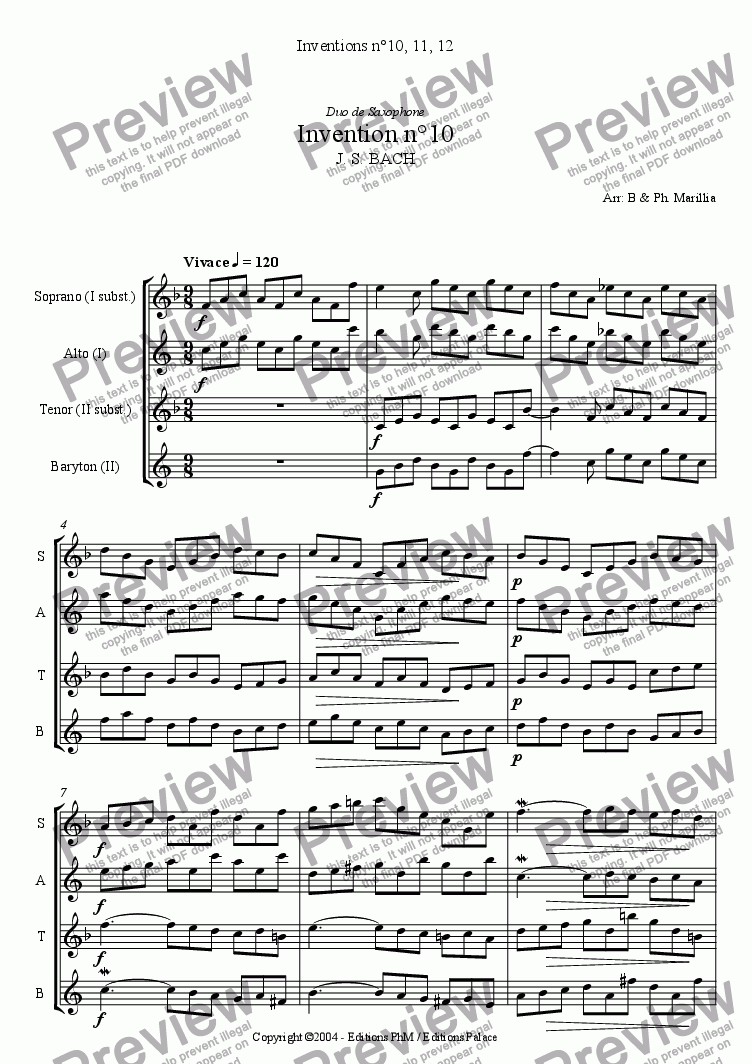 page one of Bach - 2 voices Inventions n�10, 11, 12 (Sax Duo)