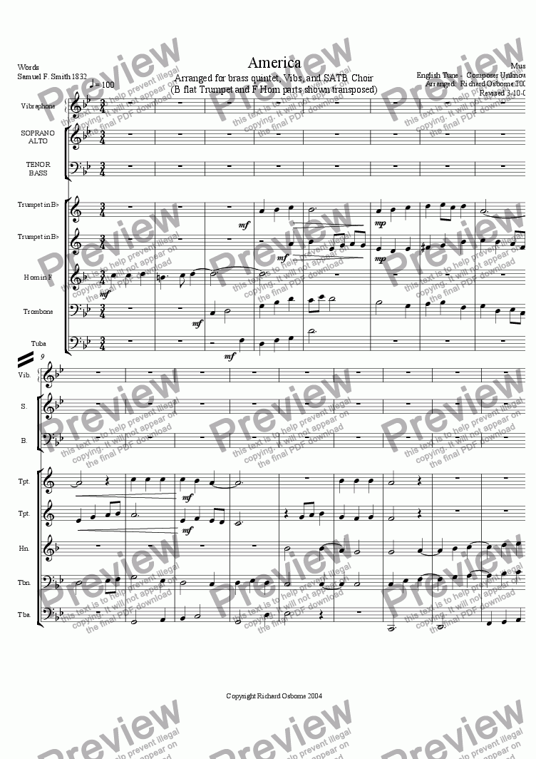 America (Transposed for Brass Quintet) for Brass quintet by anon  - Sheet  Music PDF file to download