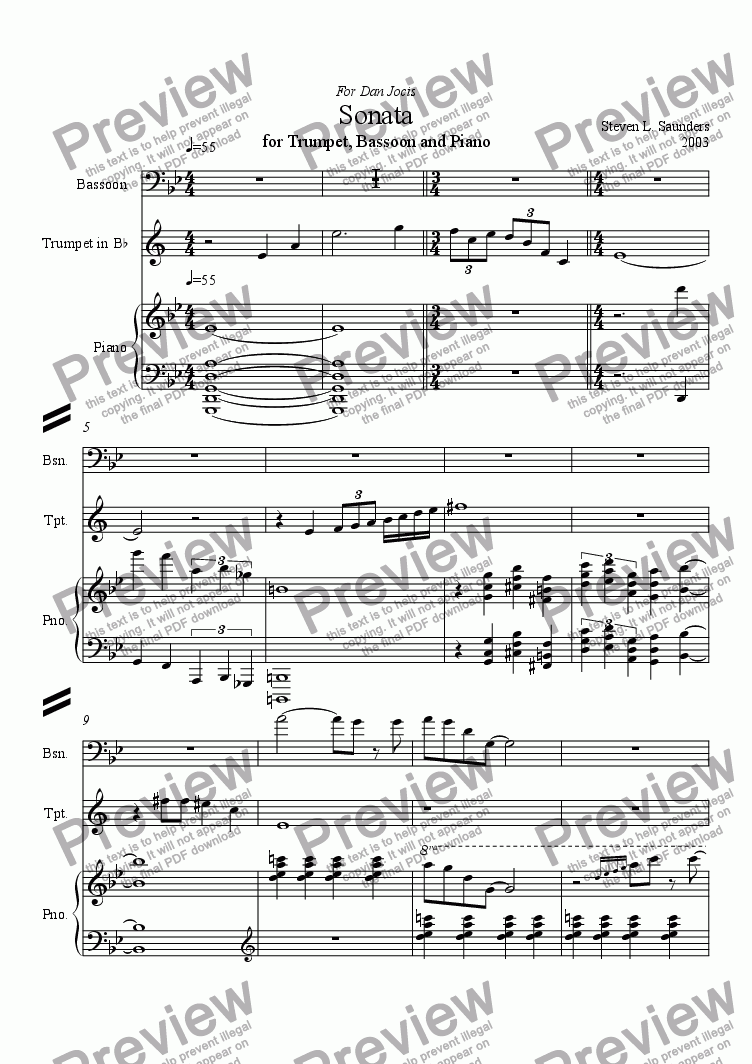 page one of Sonata for Trumpet, Basoon and Piano, Mvt 1