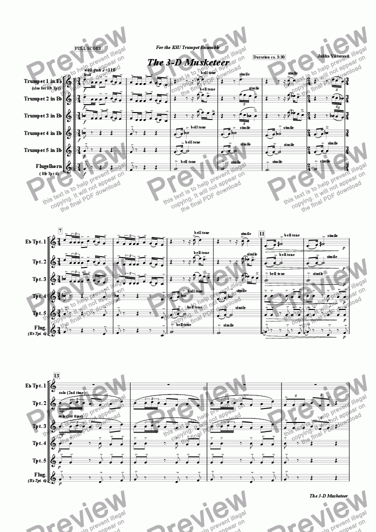 page one of The 3-D Musketeer (trumpet ensemble)