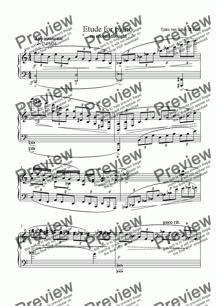 page one of Etude for piano  (... on second thought ...)