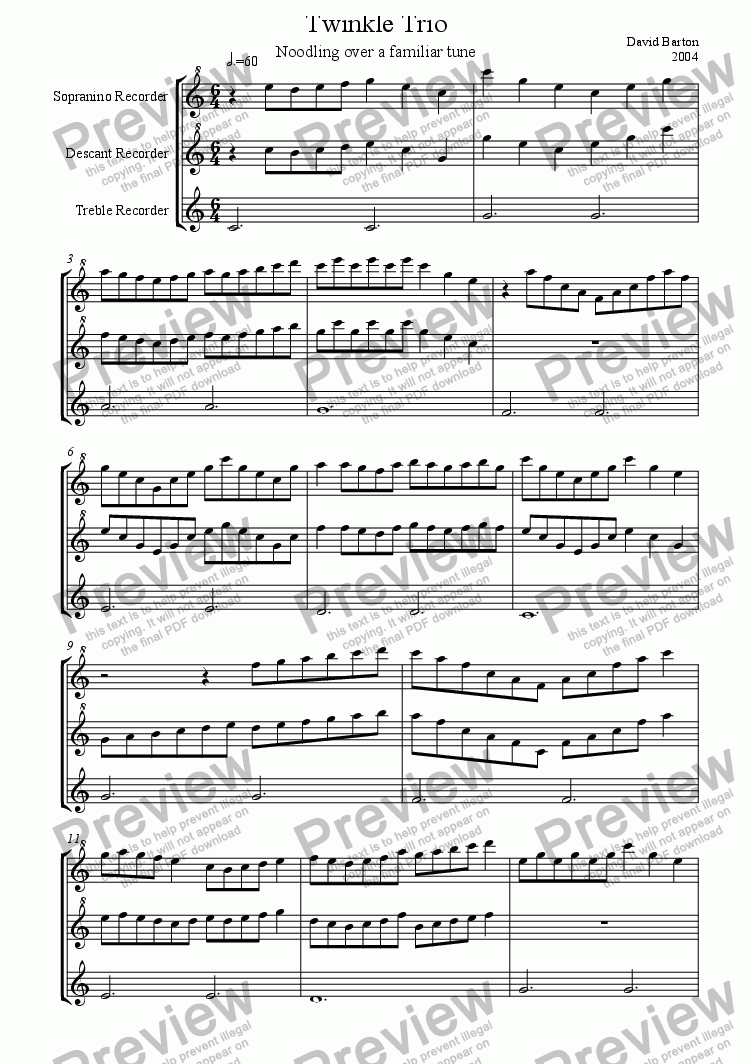 page one of Twinkle Trio for Recorders - Noodling over a familiar melody