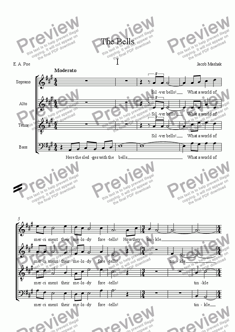page one of The Bells SATB