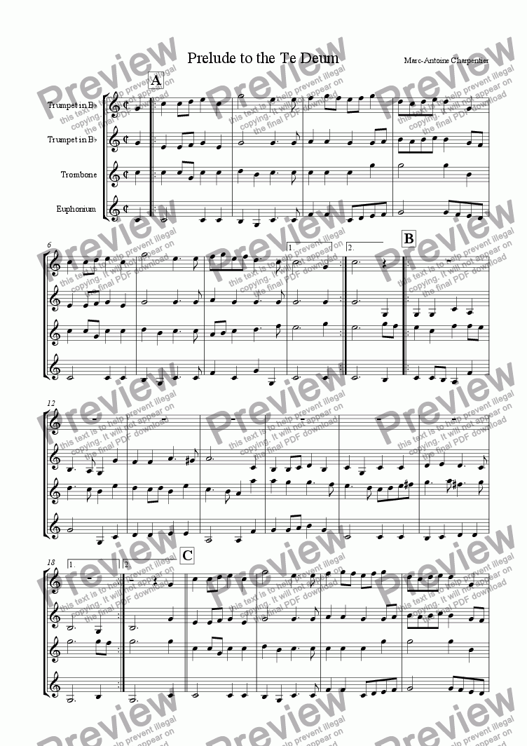 page one of Prelude to the Te Deum (for brass)