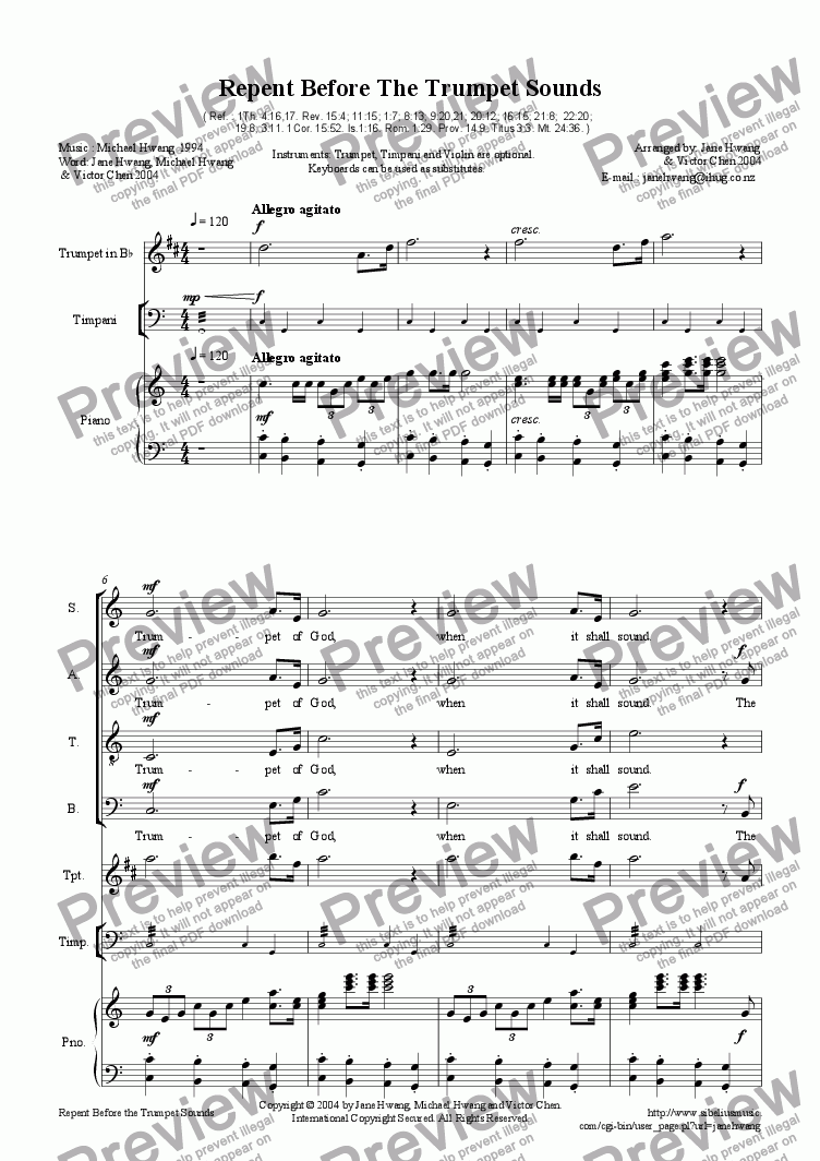page one of Repent Before The Trumpet Sounds(SATB+Pno+3Instruments)