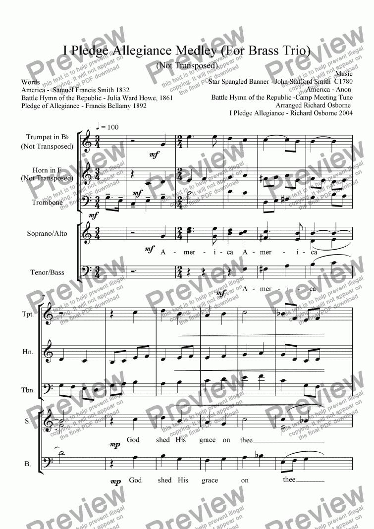 I Pledge Allegiance Medley For Brass Trio Download Sheet Music Pdf